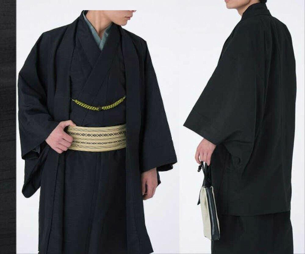 Japanese Traditional Men's Kimono Jacket HAORI Coat Pongee Black Japan Tracking