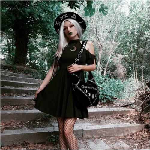 Women/'s Gothic Punk Style Skirt Hollow out short sleeve black Vintage Dresses