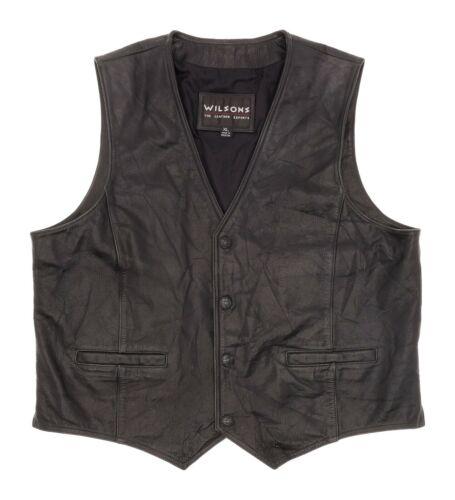 Vintage WILSONS Leather Motorcycle Vest XL Mens Bl