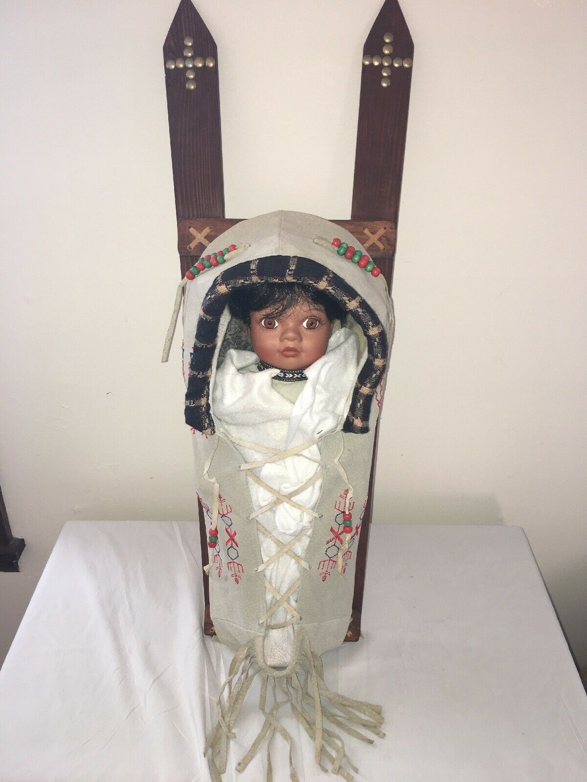 Vintage Native American Indian Doll with Traditional Back Board signed Dora0023