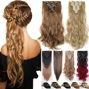 100-Natural-8Pieces-Long-Clip-in-Hair-Extensions-Full-Head-Real-Thick-for-human
