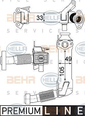 8ME 376 750-761 HELLA Cooler  exhaust gas recirculation