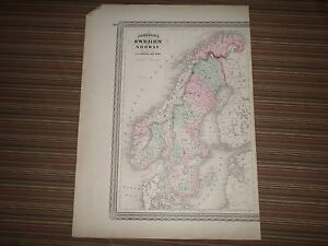 Large Johnson's Map of Sweden and Norway (1865) A.J. Johnson, New York