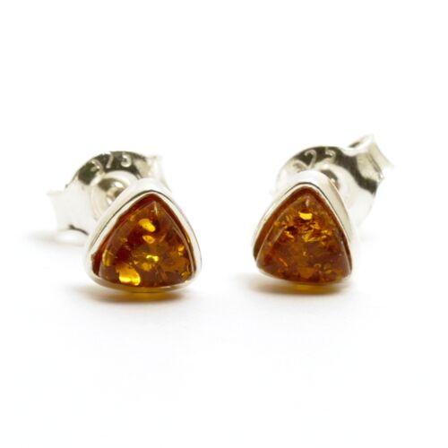 Natur Bernstein amber Ohrringe Ohrstecker Dreieck in 925er Silber Fassung K204