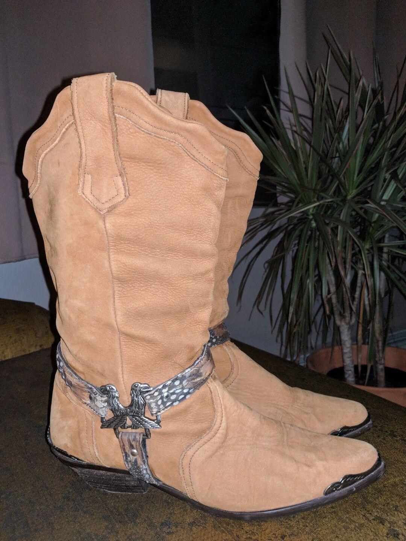 Maine Woods Woods Woods deer skin braun leather eagle harness cowboy Stiefel ladies 9.5 m 61bd6c