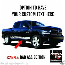Rocker Panel Stripes for DODGE Ram GMC Toyota Chevy Ford or any CAR (YOUR TEXT)