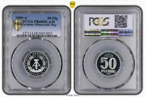 GDR 50 Pfennig 1989 A Superb High Grade Proof Only 2300 Ex. PCGS PR68DCAM