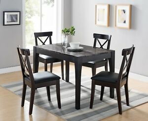 Details About Smart Home 161799 Dining Table In Black And Faux Black Marble