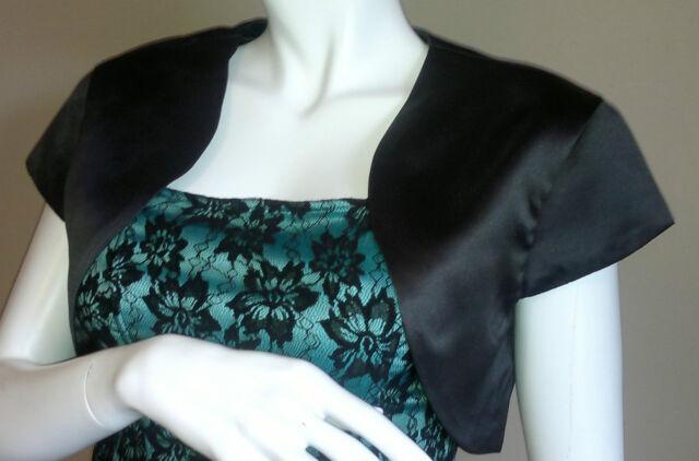 Black Satin Short Sleeved Bolero/Shrug/Jacket/Stole/Tippet/Shawl/Wrap UK 4 - 22