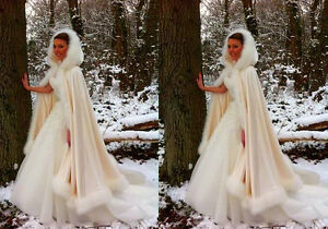Image Is Loading Long White Faux Fur Wedding Dress Hooded Cloak