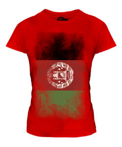 AFGHANISTAN FADED FLAG LADIES T-SHIRT TEE TOP AFGHANESTAN FOOTBALL AFGHAN SHIRT