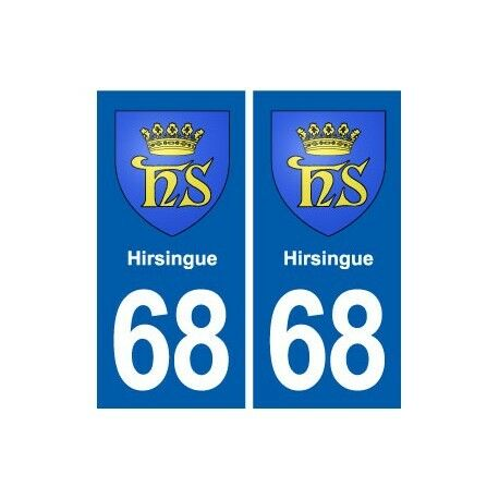68 Hirsingue blason autocollant plaque stickers ville -  Angles : droits