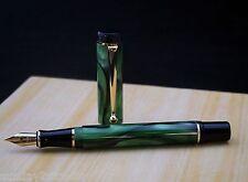 Unique Acrylic Fountain Pen P-22 (NOS) MOSS GREEN  Golden Clip