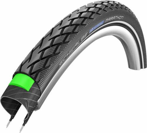 """27/"""" Bike Tyre Clincher Schwalbe Marathon Touring Wire 27X1 1//4/"""" Black//Reflex"""