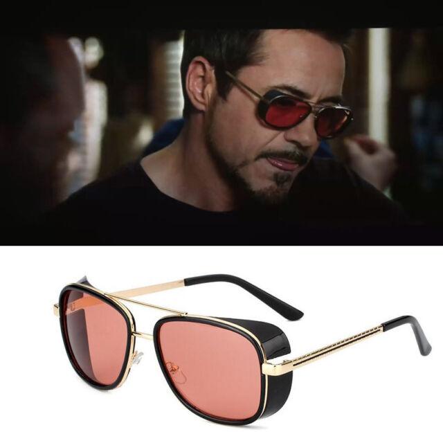 e01c01457e Retro Iron Man Men Sunglasses Tony Stark Vintage Eye Glasses Eyewear Metal  Frame