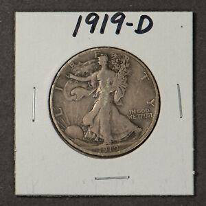 1919-D-WALKING-LIBERTY-50C-Silver-HALF-DOLLAR-F-VF-SEMI-KEY-DATE-Lot-X059