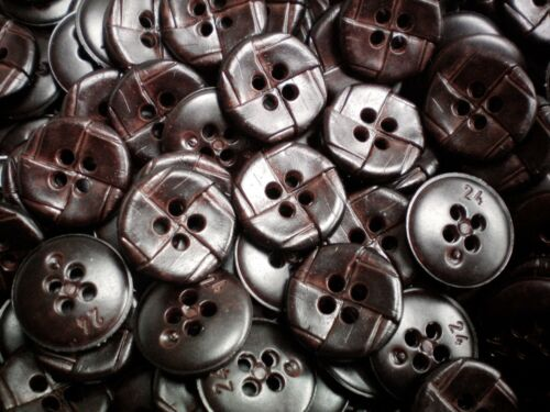 K150 15mm 24L Dark Brown Chocolate Leather Effect 4 Hole Shirt Craft Buttons