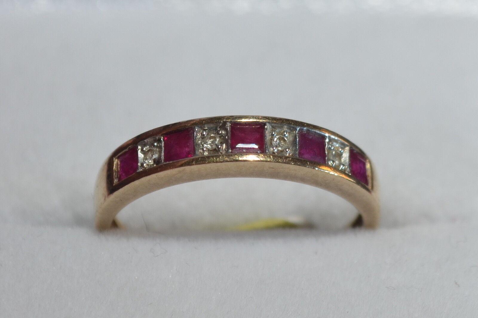 Seconda mano Ruby Diamond 1 4 Eternity Eternity Eternity Anello 9 CT GIALLO oro TAGLIA K Ridotto Vendita 41c5ba
