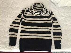 New M/&S Collection Navy /& White Striped Polo Roll Neck Jumper Sz UK 10
