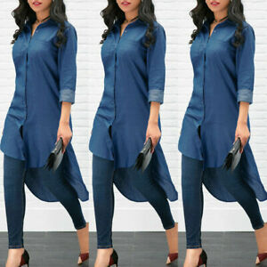 Women-039-s-Blue-Jeans-Denim-T-Shirt-Long-Sleeve-Casual-Loose-Shirt-Mini-Dress