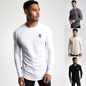 Gym-King-Mens-Long-Sleeve-Crew-Neck-Basis-Slim-Fitted-Designer-T-Shirt-Tee-Top