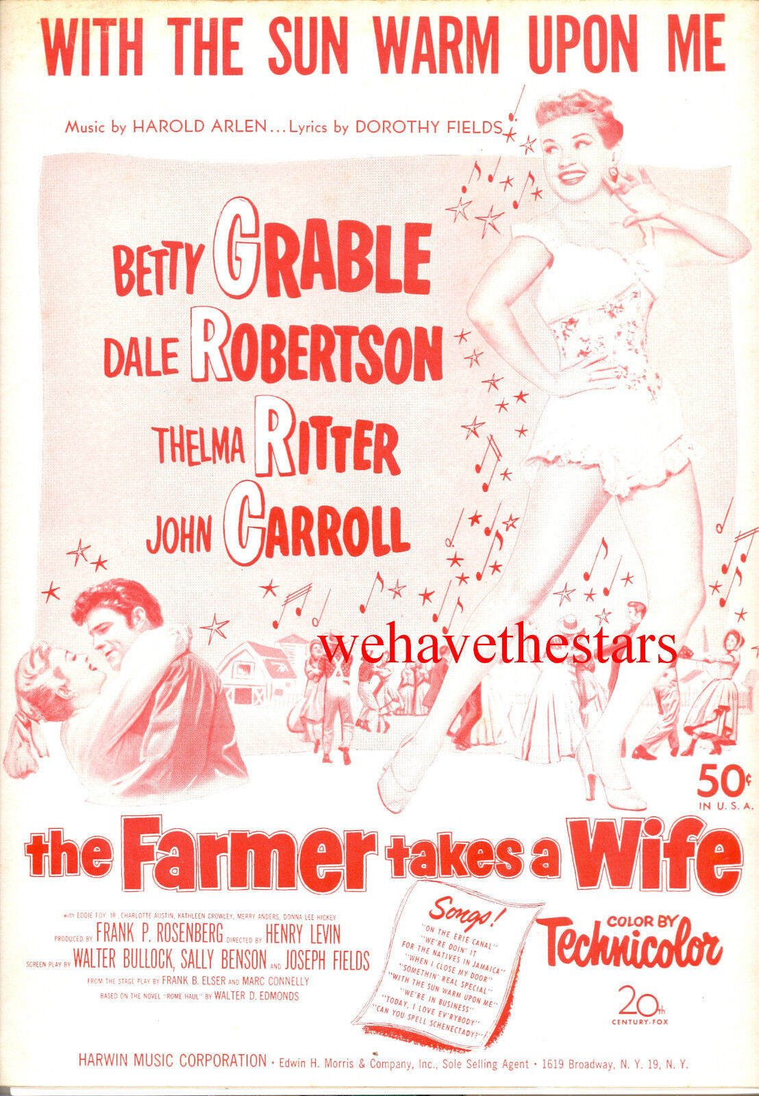 Farmer Takes A Wife Notenblatt   mit den Sonne Warme Upon Me   Betty Grable