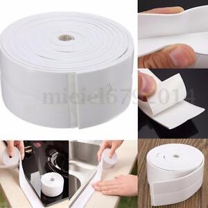 Self adhesive sink waterproof tape kitchen bathroom shower toilet sealant white ebay for Best sealant for bathroom sink