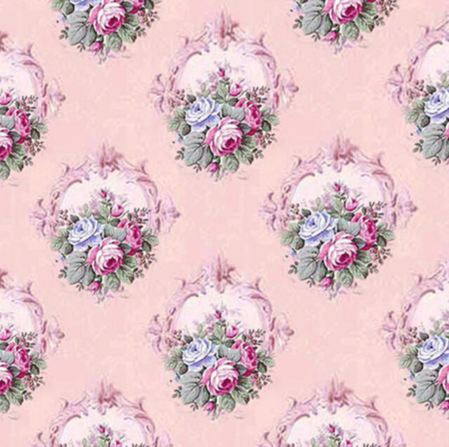 Dolls House Wallpaper 1/12th 1/24th scale Pink  Quality Paper #38