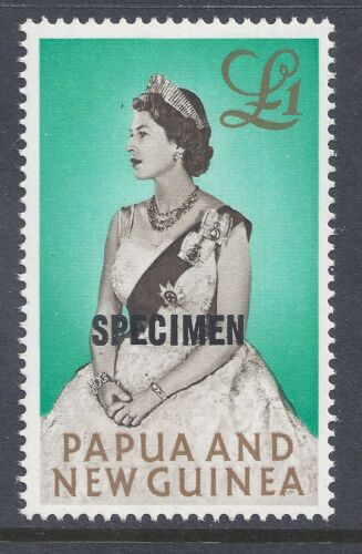 1963 PAPUA NEW GUINEA 1 QUEEN OVERPRINTED SPECIMEN 13mm FINE MINT MUHMNH