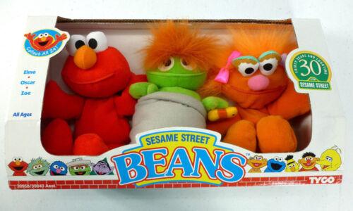 Vintage Sesame Street Beans Elmo Oscar Zoe 30th Anniversary Set NEW in Box