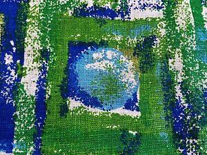 SALE-60-039-s-70-039-s-Mid-Century-Barkcloth-Era-Vintage-Fabric-Op-Art-Panton-Tiki-DIY