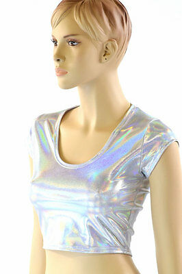 Silvery White Flashbulb Holographic Crop Top w/Cap Sleeves Made To Order