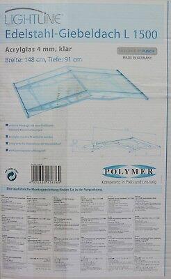Schlussverkauf Polymer Lightline Edelstahl Giebelvordach L1500 Vordach 148 X 91 Cm Klar 170676 Ausgereifte Technologien Vordächer Fassade
