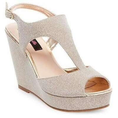 Soft Gold Rich In Poetic And Pictorial Splendor 11 Color Betseyville Ryatt Glitter Mesh Platform Wedge Sandals Size