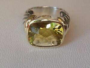 $1100 David Yurman Or 14/k, Argent Sterling Lemon Citrine Grande Noblesse Ring Sz-afficher Le Titre D'origine