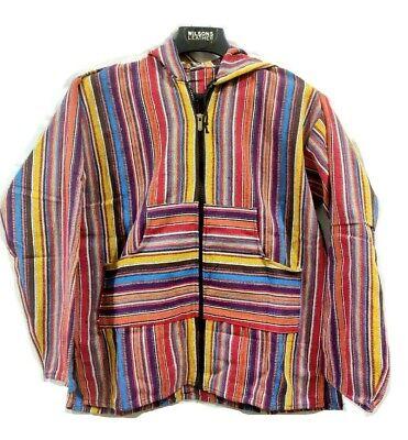 Orange Indian Men Baja Hoodie Zipper Jacket Hoodie Cotton Acrylic Drug Rug