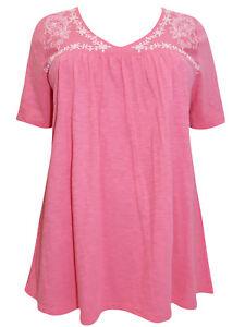Ulla-Popken-Damen-Bluse-Top-Plus-Groesse-16-18-20-22-28-30-32-34-rosa-Swing-Style