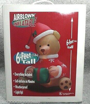 Inflatable YARD ART Christmas Teddy Bear Gemmy 6 Foot Airblown Self Lighted NEW
