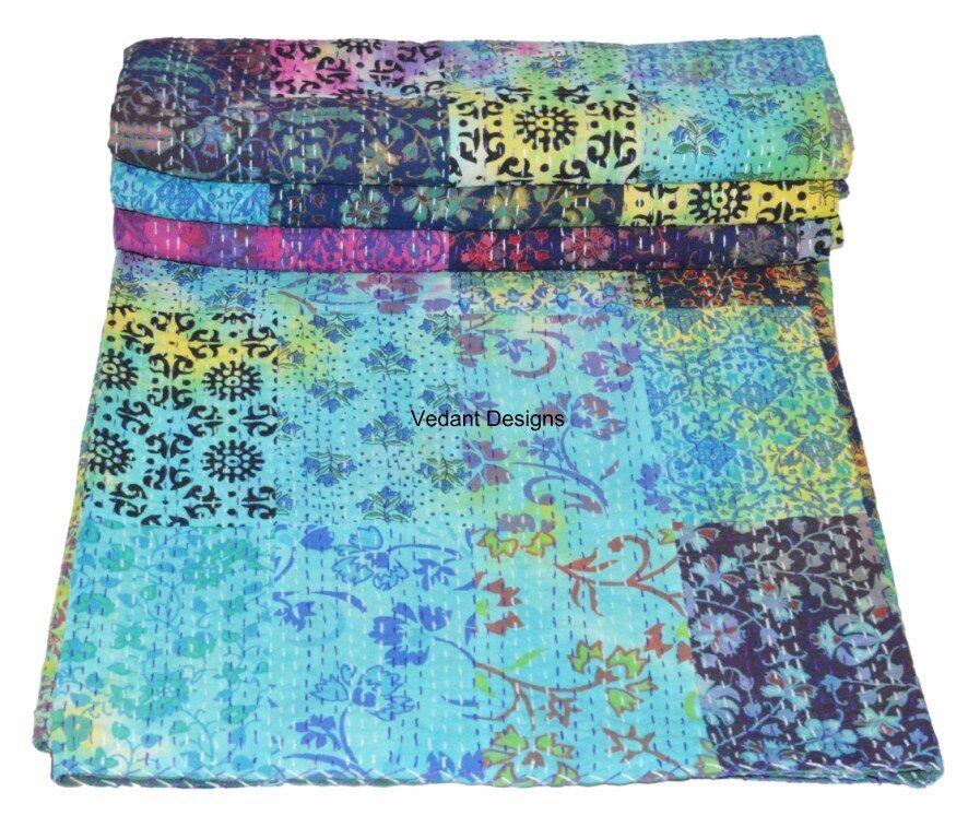 New Tapestry Mandala Patchwork Tie Dye Queen Cotton Kantha Quilt Throw Blanket