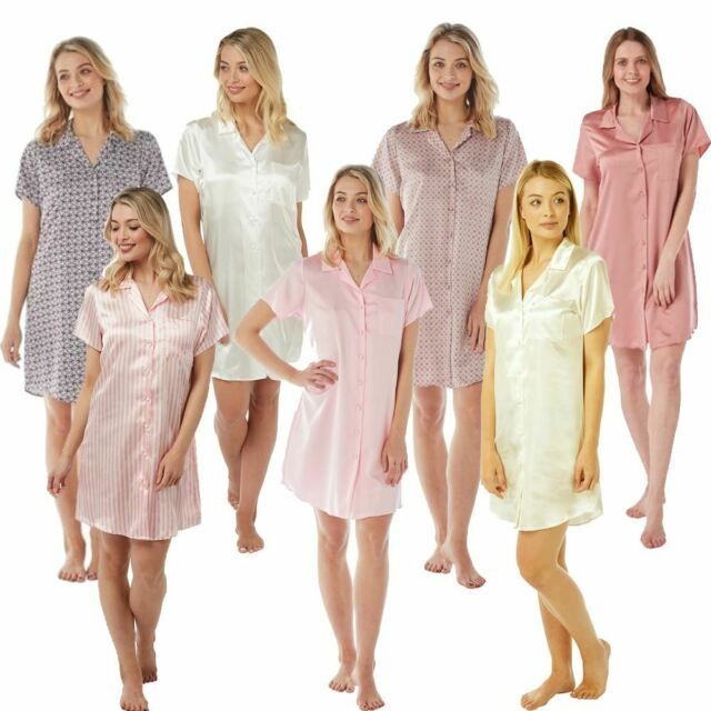 Ladies Satin Nightshirt Nightdress Short Sleeve Slip Button Up SIZE 10 12 14