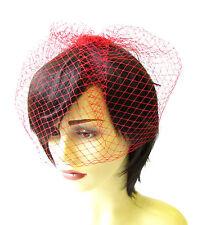 Red Birdcage Veil Hair Clip Fascinator Net Hair Vintage Races Headpiece 1379