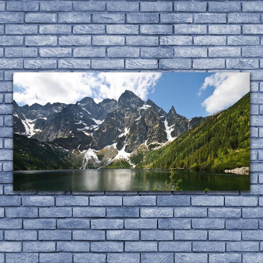 Glasbilder Wandbild Druck auf Glas 140x70 Gebirge Berg See Wald Landschaft