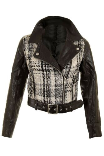 Ladies Knitted Black White PU Leather  Belted PVC Biker Women/'s Jacket