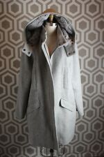 NWT Vince Rabbit Fur Collar Wool Felt Coat Gray XL $1295