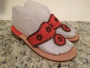 Jack Rogers Flip Navajo Sandales Flat Leder Flip Rogers Flop Thong Coral Braun 8abf8d