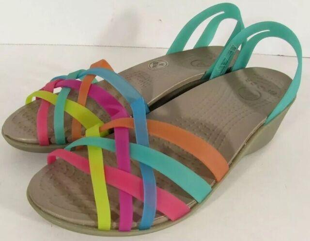 cc20b0caa107c Crocs Womens Huarache Mini Wedge Sandal Shoes Multi mushroom US 6 ...