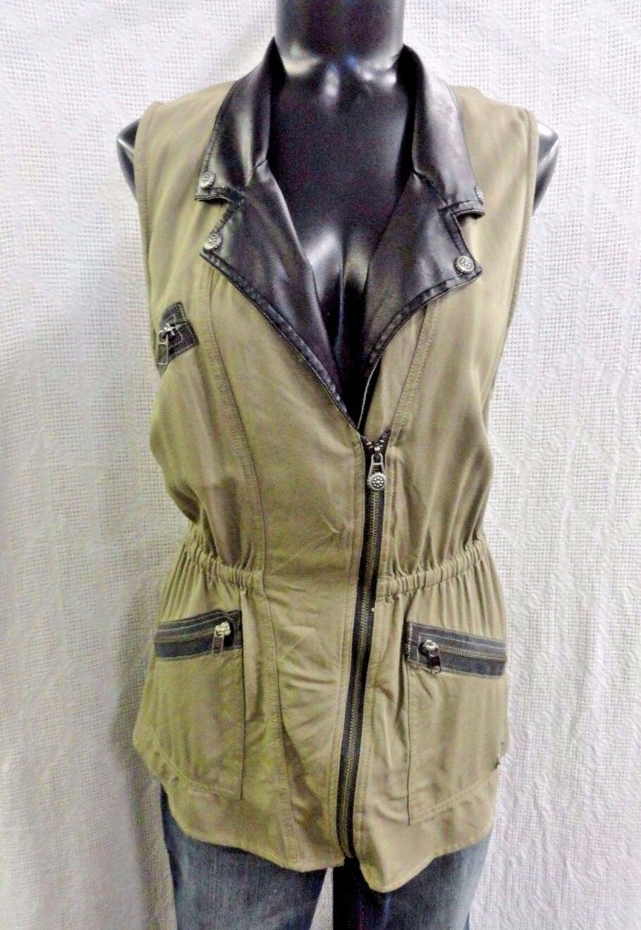 Harley Davidson Asymmetric Zip Twill Women's Vest