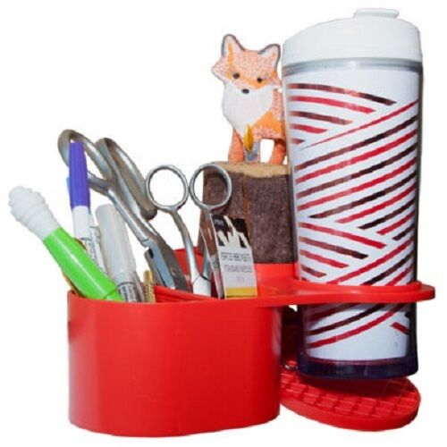 Table Mama Craft Caddy Desktop Organizer /& Cup Holder Red