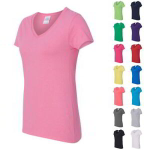 Gildan-Heavy-Cotton-Women-039-s-V-Neck-T-Shirt-5V00L