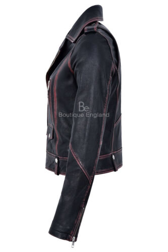 Ladies Leather Jacket Black Rub Off Biker Style Perfecto Brando Jacket 4569